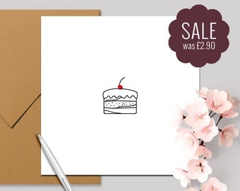 Cake! Birthday Cake Card - Sale Square Card 140x140mm