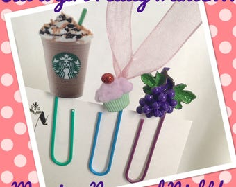 What A Girl Wants, Starbucks, Dessert and Wine, Paper Clip Bookmarks