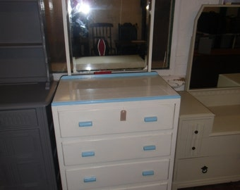 oak chest of four drawers in white and blue detail