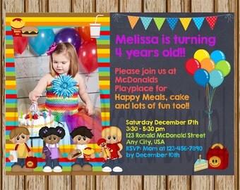 """McDonald's Birthday Invitations- Burger Invitations - McDonald's Party- Fast Food Invitations- 5"""" x 7"""" size- Digital- Add A Picture Invite"""