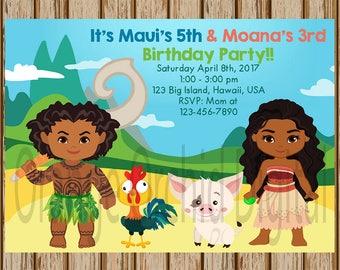 """Moana and Maui Birthday Invitations- Moana Birthday Invitation- Maui Birthday Invitations- Sibling Birthday Invite- 5"""" x 7"""" size- Digital"""