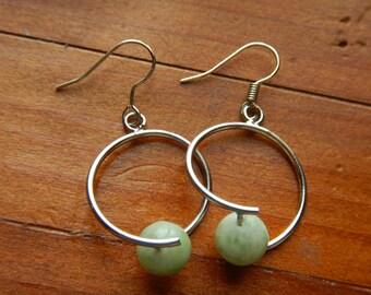 Jade Earrings, Turquoise Earrings, Green Jade Earrings, Modern Hoop Earrings, Jade Hoop Earrings, Green Hoop Earrings, Turquoise hoops