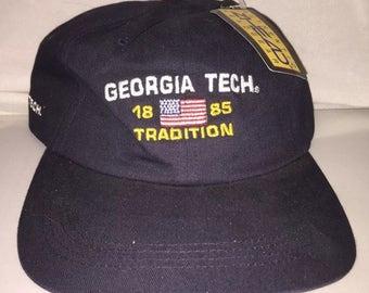 Vintage Georgia Tech Yellow Jackets Strapback dad hat cap NCAA College deadstock football 90s
