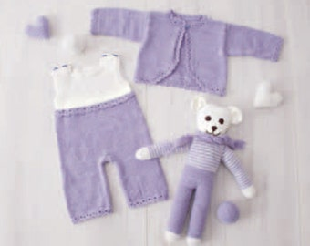 Hand knitted baby set onesie+jacket in mauve+white. Merino extrafine. 1.5-3 / 3-6 months. For Newborns.gift. Made to order.