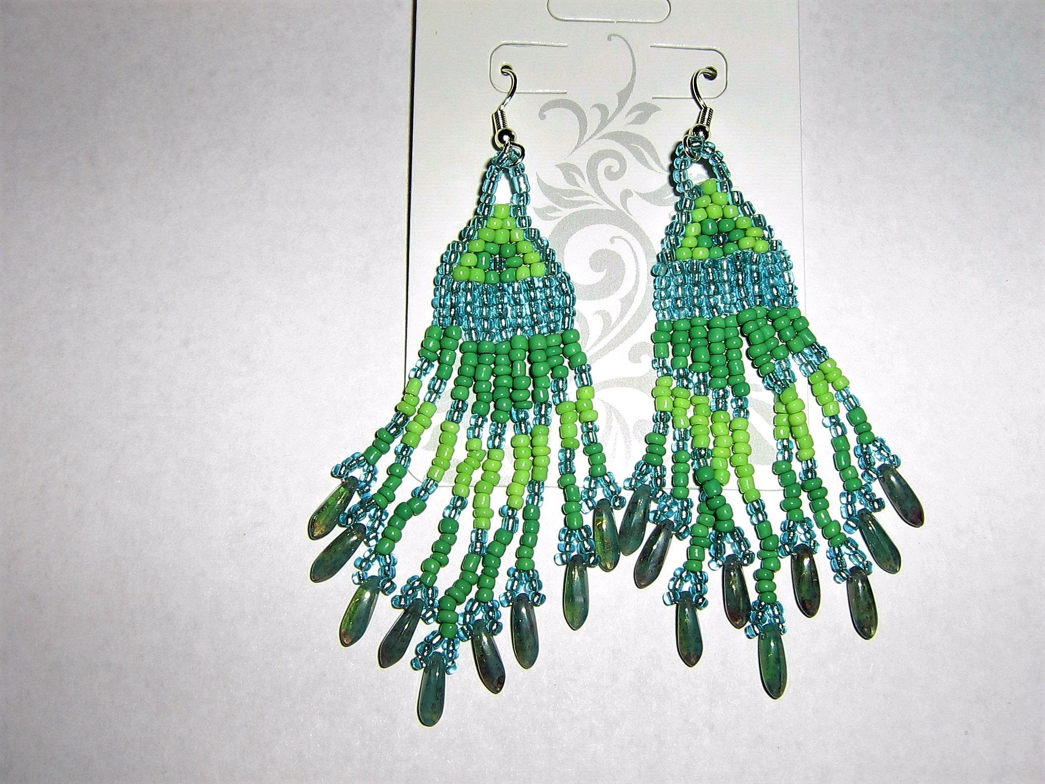 Southwest style chandelier earrings in two tones of green mozeypictures Choice Image