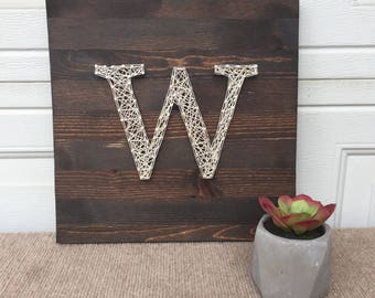 """String Art Letter, Monogram Sign, Made to Order Wall hanging 12""""x12"""""""