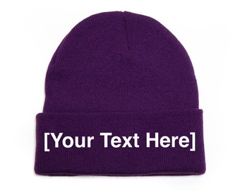 Custom Beanie, Custom Beanies, Custom Embroidered Beanie, Custom Beanie Hat, Purple