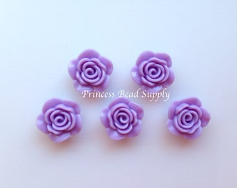 Purple Resin Rose Flower Beads, NEW Style! 20mm Rose Beads, 20mm Flower Beads, Mini Flower Beads, Chunky Beads, Acrylic Beads
