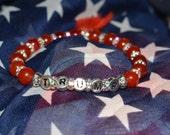 "Red Trump Bracelet, Trump Beaded Bracelet, Patriotic Bracelet, Trump Jewelry, Gift for Her, Stretch Bracelet, Gemstone Bracelet, OOAK, 7.5"""