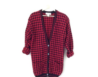 Grandpa cardigan. Vintage red checkerboard print, oversized, cozy, double pocket long cardigan. Retro sweater
