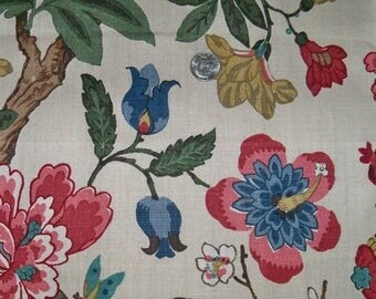 LEE JOFA KRAVET Persian Jacobean Birds & Pomegranite Linen Toile Fabric 10 yards Indigo Blue Red Multi