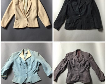 SALE SALE SALE Lot of 4 vintage jackets blazer suit coats 40s 50s 60s 70s 80s M5172
