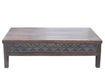 Rustic Modern Coffee Table, Modern Coffee Table, Vintage Coffee Table, Reclaimed Wood Coffee Table, Carved Coffee Table,  Dark Walnut table