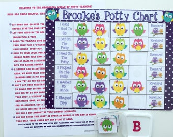 Owl Potty Chart, Potty training chart, Positive rewards chart, personalized potty chart, fully assembled, laminated, velcro, toilet training
