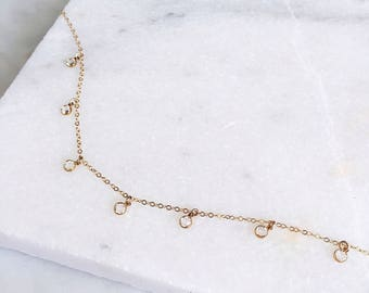 Swarovski Crystal Choker / 14 KT Gold Filled / Bridesmaids Necklace / Prom Gift / Dainty Necklace / Tiny Crystal Choker / Gold Choker /