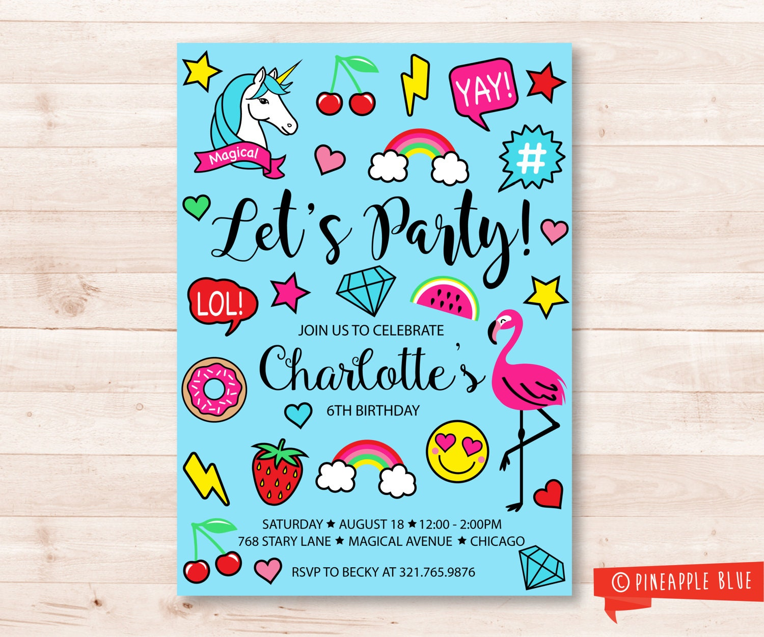 Emoji Party Invitation Kids Birthday Invitation Rainbow