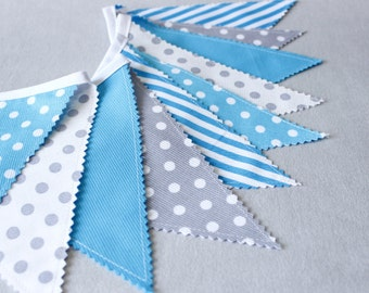Bunting Flags, Fabric Banner, Aqua & Grey, Gray Banner, Nursery Decor, Baby Shower, Boy's Birthday Decor, Bunting garland