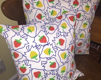 Strawberry pillow covers , removable pillow cover, Strawberry decor pillow cover, envelope style pillow covers