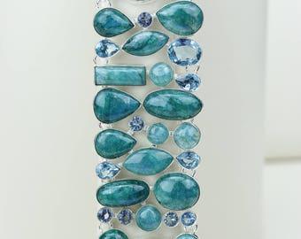 Green Moonstone 925 S0LID Sterling Silver Bracelet B2594