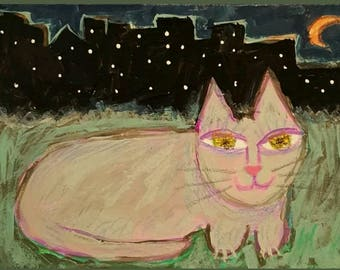 "Original Folk Art Miniature Painting ""Downtown Kitty Cat"" ACEO Art Trading Card"