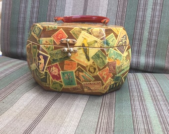 Decoupage wood box purse with stamps