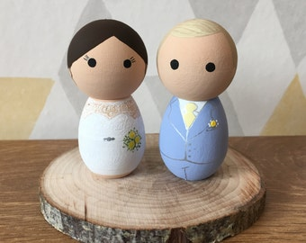 Peg Doll Cake Toppers - Bride & Groom Cake Toppers - Personalised Bubble Wedding Cake Toppers