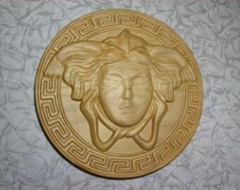 Wooden wall art deco head big Medusa Gorgon solid wood plaque home interior design large Greek pattern natural creative decoration