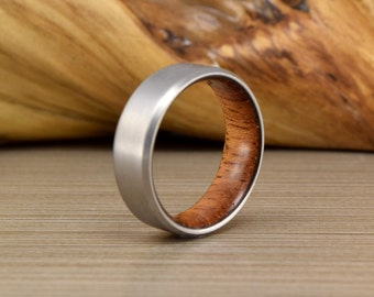 Titanium & Brazilian Cherry Wedding ring // Mens Wedding Band // Womans Wedding Ring // Womens Ring // Unique Wedding Ring