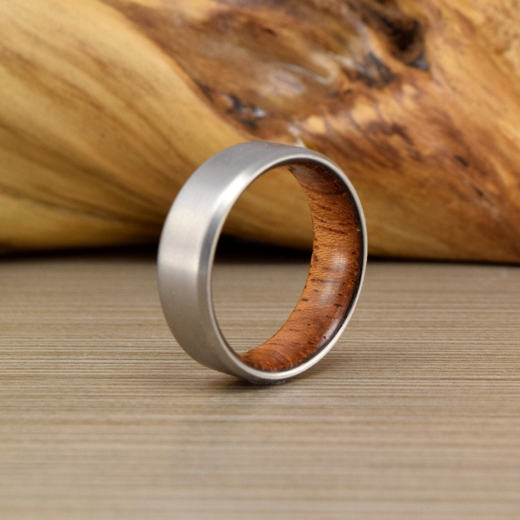 wood engagement ring wedding ring and band Titanium Brazilian Cherry ring Men s Wedding Ring Womans Wedding Ring Women s Ring Men s Ring Men s Wedding Band
