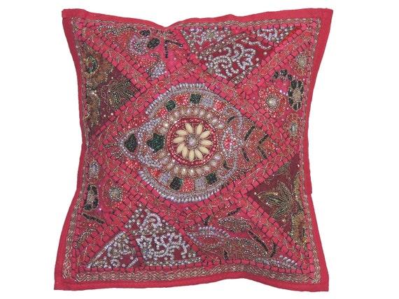Pink Beaded Decorative Pillow : Hot Pink Decorative Sari Throw Pillow Cover Beaded