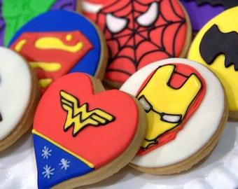 "1 Dozen Decorative 3.5"" -4"" Super Hero Cookies"