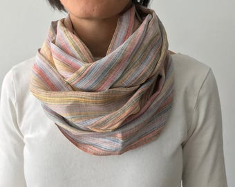 Multicolor linen circle scarf/ cowl