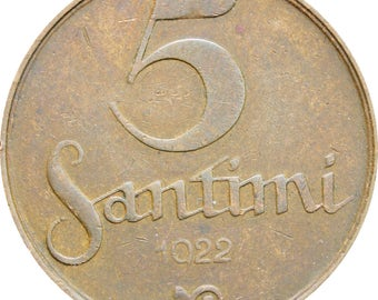 1922 Latvia 5 Santimi Coin