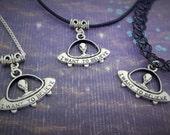 UFO Choker, Alien Necklace, Space Jewelry, Flying Saucer Charm, Extraterrestrial Pendant, Sci-Fi Charm, Cosmic Jewellery, Teen Gift Idea