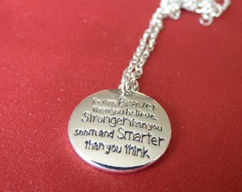 "Disney Inspired, Winnie the Pooh - ""Braver, Stronger, Smarter"" - Necklace"