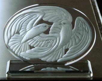 Glass Swallows - Swallows Sculpture - Swallows Art  - Engraved Glass - Engraved Birds - Engraved Glass Sculpture - Glass Anniversary Gift