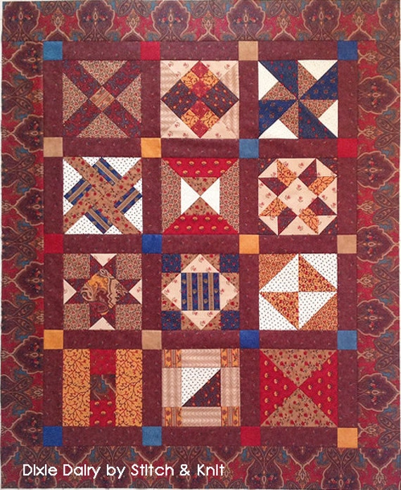 DIXIE DIARY BOM Civil War Quilts Sampler. 12 Blocks Pdf Instant Download. Print Yourself. Barbara Brackman Historical Series. Easy Pattern.