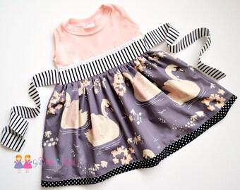 Swan Dress, Toddler Girls Dress, Baby Girl Swan Outfit, Baby Girls Dresses, Girls Twirl Dress, Girls Party Dress, Fancy Dress, Toddler Gift