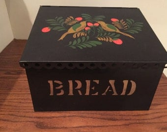 Vintage Scalloped  Slant-Top Breadbox