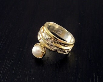 Pearl ring |Gold pearl ring |Fresh water pearl ring |Yellow pearl ring