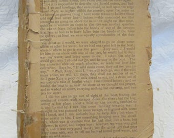Robinson Crusoe by Daniel Defoe early edition, partial book