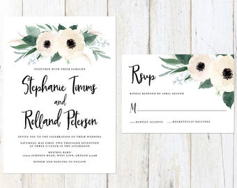 Floral Wedding Invitation, White Flowers Wedding Invitation, Greenery and White Wedding, Cream and Greenery Invitation