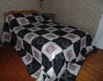 "King Size Quilt 117"" by 117"", Contemporary Blocks, made from Australia Fabric, Colours Black, White, Pink"