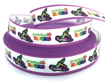 Preschool Ribbon, Preschool Rocks, Purple School, Ribbon, Crayon Ribbon, Back to school ribbon, School Ribbon, School Grosgrain,Pre K Ribbon