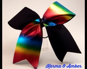 Black and Bold Rainbow Cheer Bow