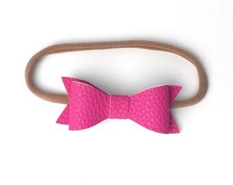 Baby   Toddler   Girl Faux Leather Classic Bow Headband   Fushia Pink