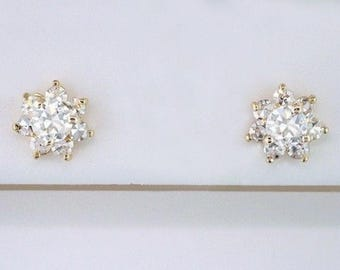 Vintage Antique Double Certified 1.02ct Diamond 18K Yellow Gold Art Deco Stud Earrings