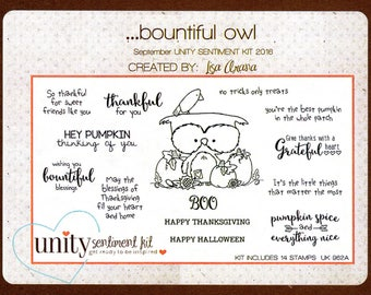 Bountiful Owl rubber stamp set by Unity Stamp Company & artist Lisa Arana - September Unity Sentiment Kit 2016, Halloween, Thanksgiving, USA