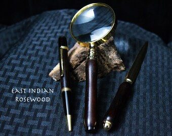 Custom Rosewood Desk Set - Pen, Letter Opener & Magnifying Glass