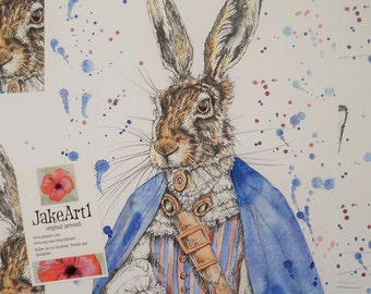 Steampunk hare art print, fantasy wildlife art print, home decor, fantasy hare, steampunk animal, gift for him, gift for her, art print